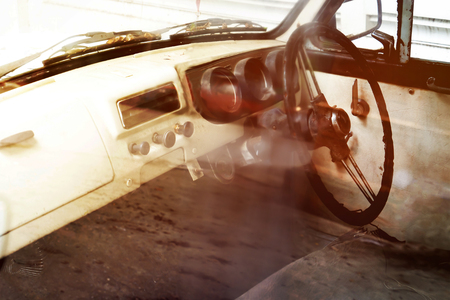 gearstick: interior of classic vintage car. retro filter color styles. Stock Photo