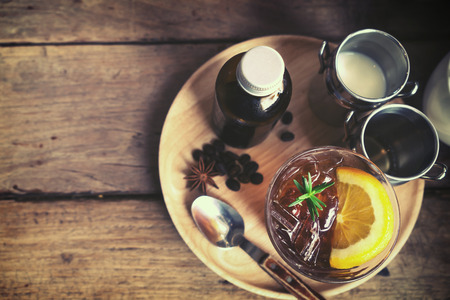 color tone: beverage of summer - blended coffee brew cold on table in cafe, vintage color tone Stock Photo