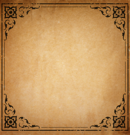 decorated: Old paper with patterned vintage frame - blank for your design