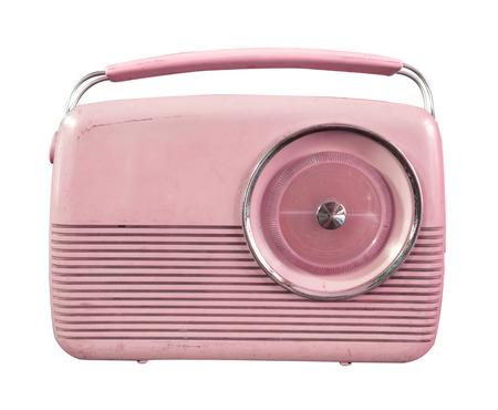entertainment equipment: Retro radio isolate on white, vintage technology - pastel color