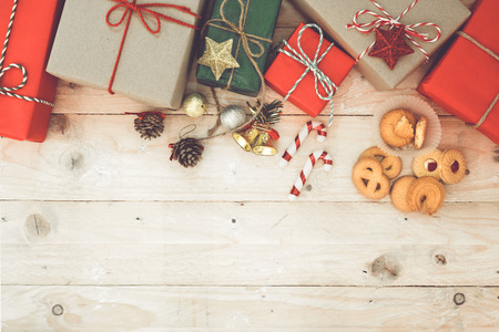 christmas decor: Christmas background - Christmas gifts box and cookies with decoration and a present box Stock Photo