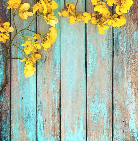 빈티지 나무 배경, 테두리 디자인에 노란색 꽃. 빈티지 색조 - 봄 또는 여름 배경의 컨셉 꽃 스톡 콘텐츠