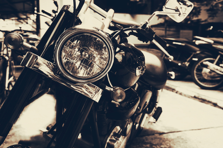 vintage old classic motorcycles - vintage film grain sepia color effect Stock Photo