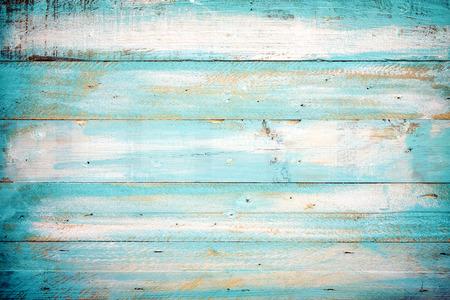 빈티지 해변 나무 배경 - 오래 된 파란색 나무 판자 스톡 콘텐츠