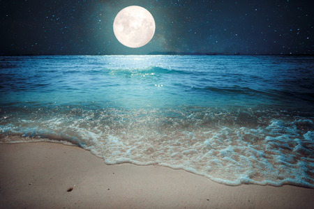 shore: Beautiful fantasy tropical beach with star and full moon in night skies - imagine style artwork with vintage color tone