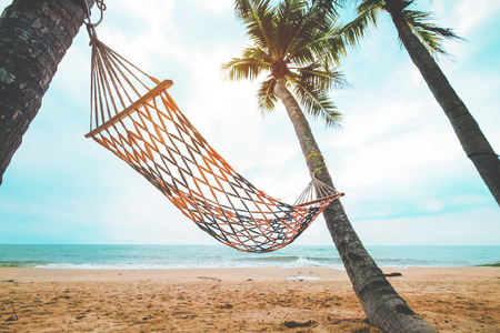 Landscape of hammock with coconut palm tree on tropical beach in summer. Summer vacation concept.  vintage color tone