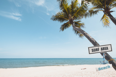 Landscape of coconut palm tree on tropical beach in summer. Vintage surf area and Beach sign with plam tree. vintage color tone