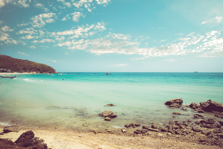 vintage landscape: Vintage tropical coast (seascape) in summer. Landscape of seacoast. vintage effect color tone. Stock Photo