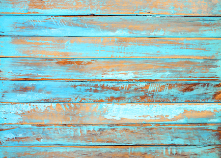 Old beach wood background - vintage blue color wooden plank