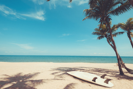 Surfboard on tropical beach in summer. landscape of summer beach and palm tree with sea, blue sky background. Vintage color tone Stok Fotoğraf - 83042212