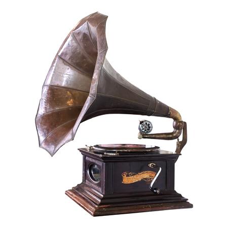 De vintage grammofoon isoleert op wit met het knippen van weg - retro technologie. Stockfoto