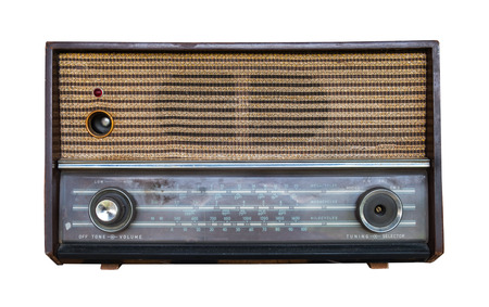 Vintage Radio isolate on white with clipping path, retro technology Stock fotó