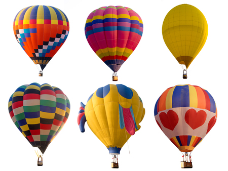 Set of colorful (multi colors) hot air balloon isolated on white background Zdjęcie Seryjne - 84674314