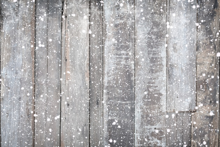 Christmas background - Old wood texture with snow. vintage and rustic style