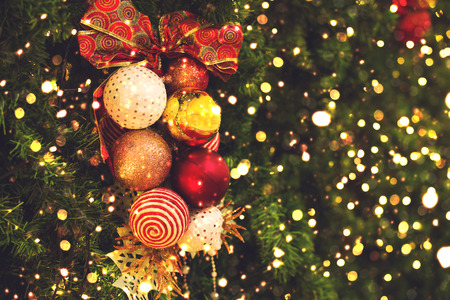 Christmas tree background with decoration and light bokeh