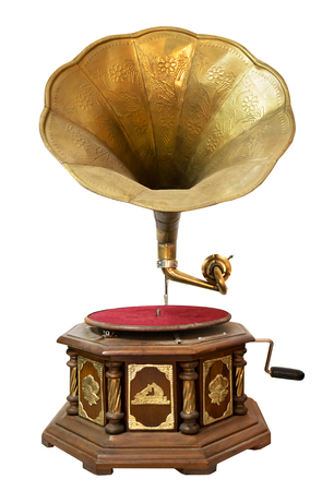Vintage gramophone isolate on white with clipping path for object, retro technology