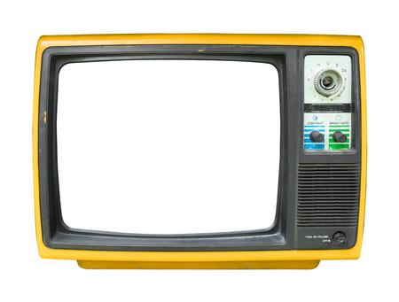 レトロなテレビ - オブジェクト、レトロな技術のための白に隔離フレーム画面を持つ古いヴィンテージテレビ