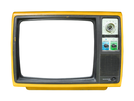 Retro television - old vintage TV with frame screen isolate on white  for object, retro technology