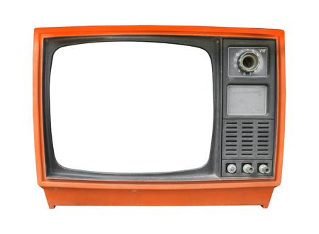 Retro- Fernsehen - altes Weinlese Fernsehen mit Rahmenschirmisolat auf Weiß mit Beschneidungspfad für Gegenstand, Retro- Technologie
