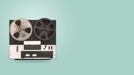 Tape cassette recorder and player with on color background. retro technology. flat lay, top view hero header. vintage color styles. Фото со стока