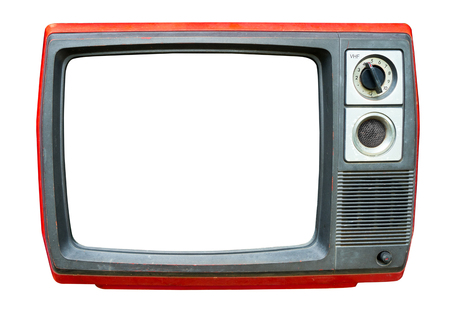 Retro television - old vintage TV with frame screen isolate on white with clipping path for object, retro technology Reklamní fotografie