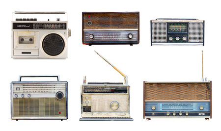 Collection of vintage retro radio related - clipping path objects isolated on white background.