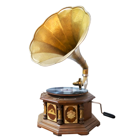 Vintage and classic gramophone isolate on white. clipping path for object, retro technology Archivio Fotografico