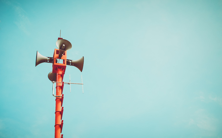 vintage horn speaker - public relations sign and symbol. vintage color tone effect Stockfoto