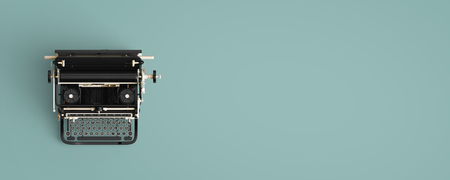 Vintage typewriter header. retro machine technology - top view and creative flat lay design.