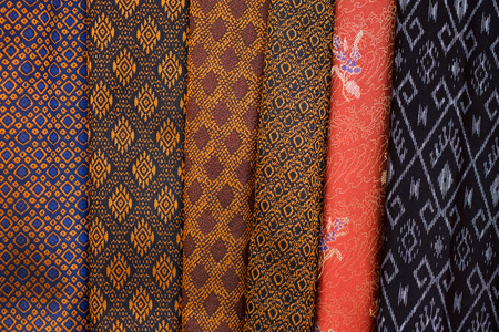 Thailand silk pattern and texture background Stock Photo