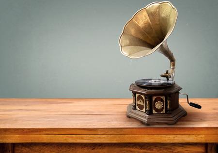 Vintage gramophone, retro music player technology. vintage gray background Stock Photo