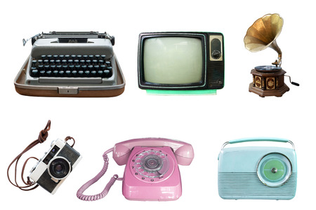 Collection of vintage retro technology related - clipping path objects isolated on white background. Foto de archivo