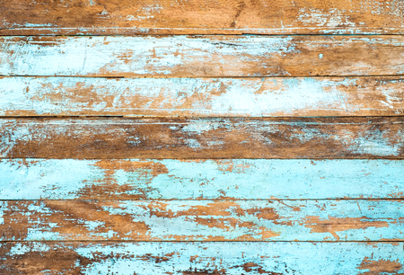 Vintage beach wood background - Old weathered wooden plank painted in blue color. Standard-Bild