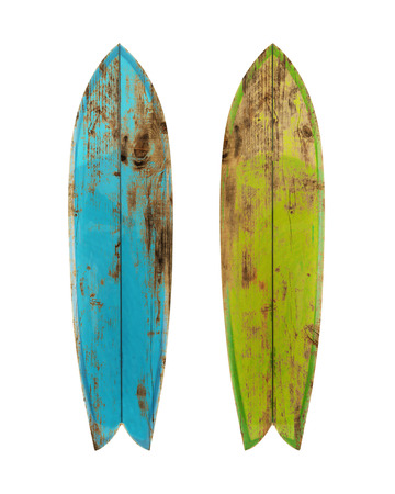 Vintage wood surfboard isolated on white with clipping path for object, retro styles. Archivio Fotografico