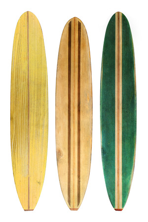 Vintage wood surfboard isolated on white