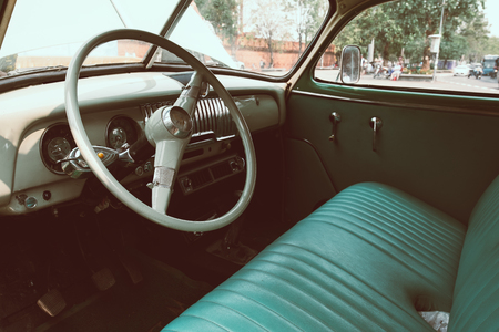 interior of vintage car. vintage classic style. retro film color filter effect. Stock Photo