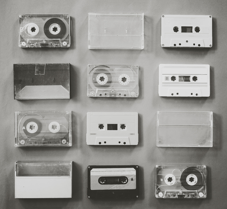 callection of vintage tape cassette recorder. black and white colour, flat lay, top view. retro technology Banque d'images