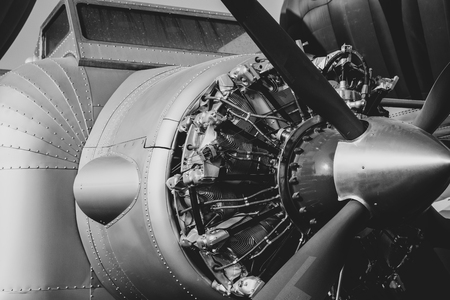 Close up vintage aircraft engine and propeller. Black and White colour 스톡 콘텐츠