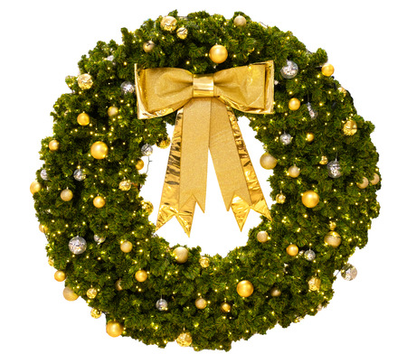 Christmas Wreath with gold ribbon bow isolate on white