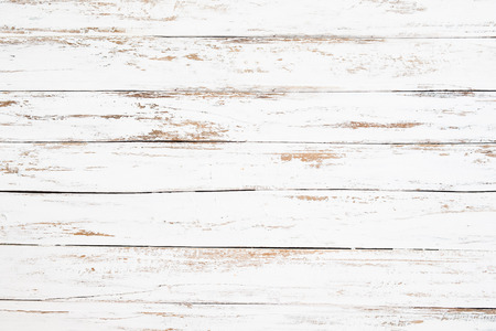 Wood plank painted in white weathered and old. Vintage and rustic white wooden background. Stock Photo