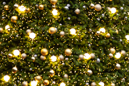 Abstract blur  of vintage Christmas tree with ball decoration Stock fotó