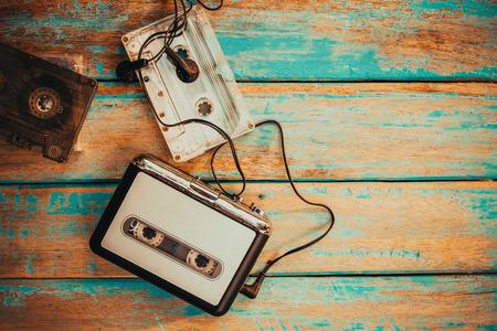 Vintage cassette player and audio cassette.