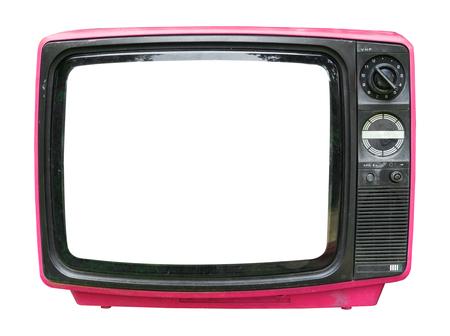 Télévision rétro - vieux téléviseur vintage avec écran de cadre isoler sur blanc avec chemin de détourage pour objet, technologie rétro