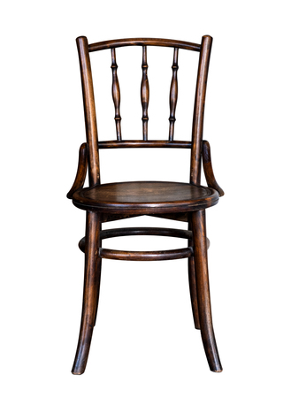 vintage wood chair furniture isolated on white with clipping path for object.