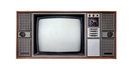 Weinlesefernsehen - altes Fernsehisolat auf Weiß mit Beschneidungspfad für Gegenstand. Retro-Technologie