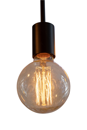 Vintage light bulb isolated on white with clipping path for object. Banque d'images