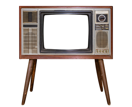 Vintage television - Old TV with frame screen isolate on white with clipping path for object, retro technology