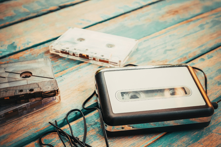 Vintage cassette player and audio cassette. retro fashion