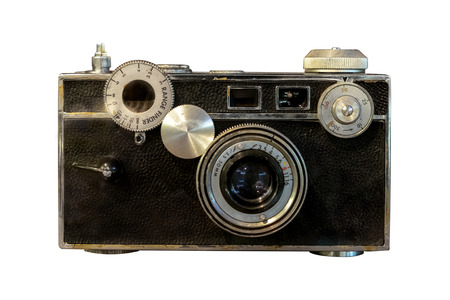 Old rangefinder camera isolated on white with clipping path for object.