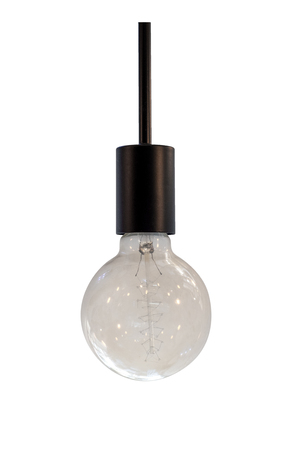 Vintage vintage lightbulb isolated on white with clipping path for object. retro technology